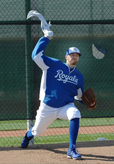 Yes, that's a towel.  New Royals righty Wade Davis did some fine tuning on his pitching during this drill.