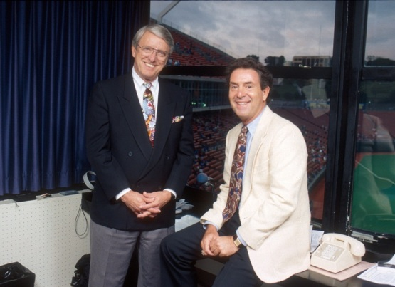 Fred White and Denny Matthews, broadcast partners on the Royals Radio Network from 1974-1998.