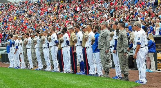 Military members lined up alongside the Royals for the national anthem.