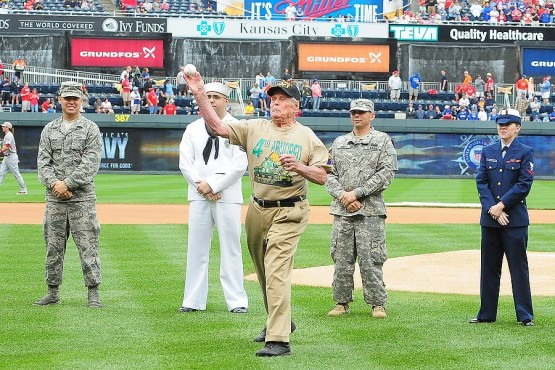 Sgt. Retired Robert Riley, a World War II veteran, threw out a first pitch.
