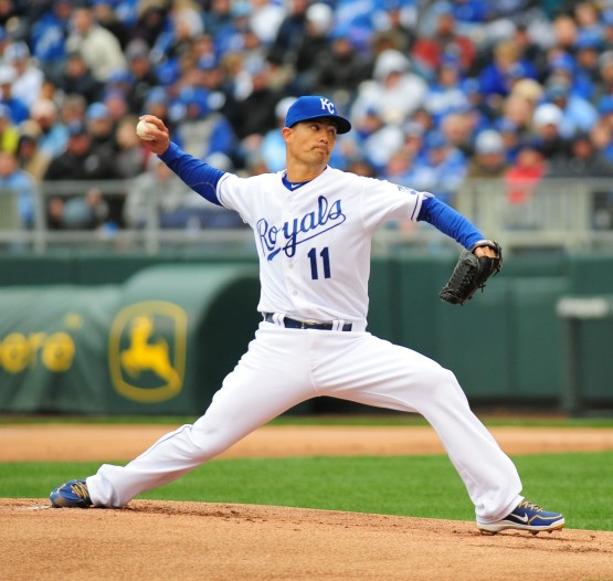 Jeremy Guthrie started and won the home opener.