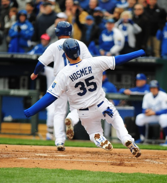 Eric Hosmer crosses the plate.