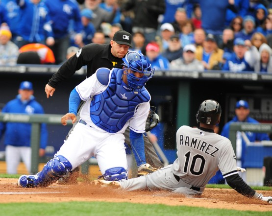Salvador Perez makes the tag.